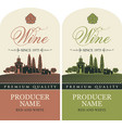 set of wine labels with european village landscape vector image vector image