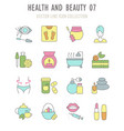 set retro icons health and beauty vector image