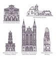 set thin line old european churches religion vector image vector image