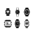 smartwatch icon set simple style vector image