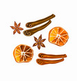 spices for mulled wine and gingerbread isolated vector image