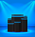 Stage black podium with neon lines and lighting