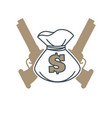 symbol with money bag and guns vector image vector image