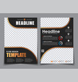 template 2 a4 pages in black with bronze elements vector image vector image