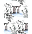 temple nature landscape view sketch japanese vector image vector image