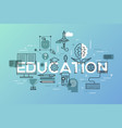 thin line flat design banner education web page vector image