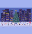 tiny people walking around big christmas tree on vector image