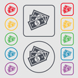 Us dollar icon sign symbol on the Round and square