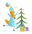 winter holiday fox celebrating with presents vector image