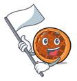 with flag baket pie mascot cartoon vector image