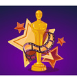 yellow cinema award with stars and film r vector image vector image