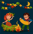 young woman dancing salsa on festivals celebrated vector image vector image
