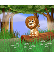 A lion sitting on a trunk vector image vector image