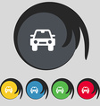 Auto icon sign Symbol on five colored buttons vector image vector image