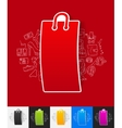 bag paper sticker with hand drawn elements vector image