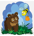 bear and bee vector image vector image