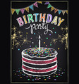 birthday invitation cake with candle vector image vector image