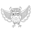 black and white owl line drawing in doodle vector image vector image