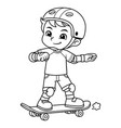 boy excersicing with his skateboard bw vector image vector image