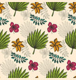 bright pattern with color tropical leaves on beige vector image vector image
