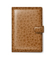 brown leather wallet on white background vector image vector image