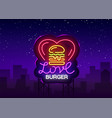 burger logo love burger design template vector image