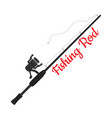 cartoon fishing rod spinning with hook vector image
