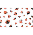 cartoon ladybugs insect pattern forest wildlife vector image vector image