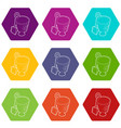 children bucket with shovel icons set 9 vector image