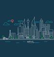 city landscape linear modern downtown landscape vector image