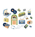 collection retro analog music players and vector image