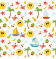 colorful summer seamless pattern with sun crab vector image vector image