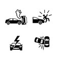 crashed cars simple related icons vector image vector image