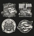 custom cars vintage monochrome emblems vector image vector image