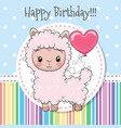 cute cartoon lama with balloon vector image vector image