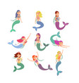cute fish girls characters swimming pretty vector image vector image
