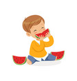 cute little boy character enjoying eating vector image vector image