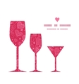doodle hearts three wine glasses silhouettes vector image vector image