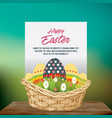 easter egg bucket and happy easter card over green vector image