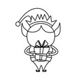 elf helper with gift santa christmas celebration vector image