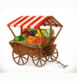 fresh produce market cart with fruits and vector image