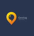 geotag with speech bubble or location pin logo vector image