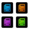 glowing neon ppt file document icon download ppt vector image vector image