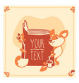 greeting card template with cute fox vector image vector image