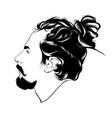 hand drawn man with dreadlocks vector image vector image