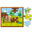 jigsaw puzzle pieces for kids reading in park vector image vector image