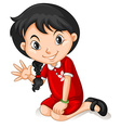 Little girl in HongKong dress waving vector image vector image