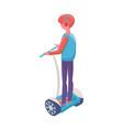 man balancing on segway eco transport vector image vector image