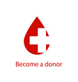 medical logo drop red blood and cross icon vector image vector image