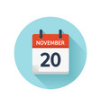 november 20 flat daily calendar icon date vector image vector image
